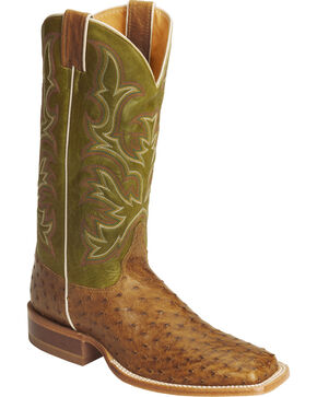 Justin Men's AQHA Full Quill Ostrich Cowboy Boots - Square Toe, Antique Saddle, hi-res