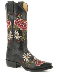 Stetson Women's Black Rose Embroidered Boots - Snip Toe , Black, hi-res