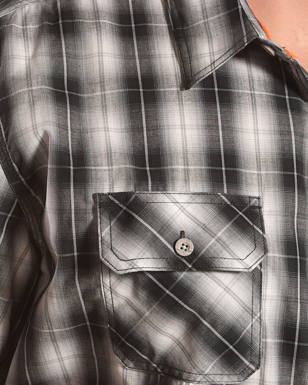American Worker Men's Freyer Plaid Short Sleeve Work Shirt, Charcoal, hi-res