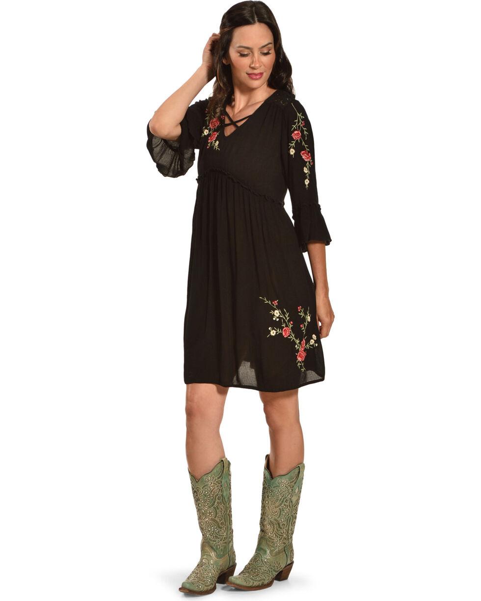 Bila Women's Black Crinkle Embroidered Floral Dress , Black, hi-res