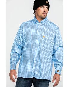 Wrangler 20X Men's FR Small Check Plaid Long Sleeve Work Shirt - Big , Navy, hi-res