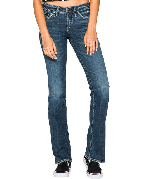 Silver Women's Suki Lightly Distressed Mid Rise Jeans - Boot Cut, Indigo, hi-res
