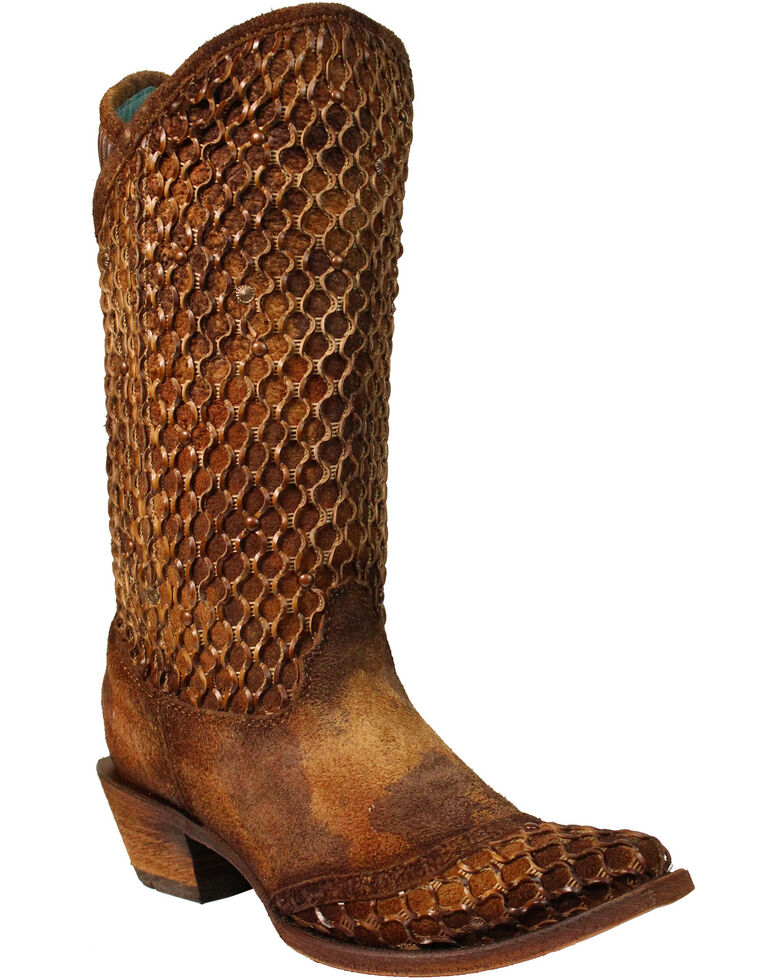 Corral Women's Camel Netting Overlay and Studs Cowgirl Boots - Snip Toe, Camel, hi-res