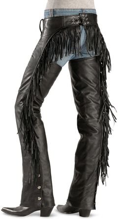 Leather Fringe Chaps, Black, hi-res