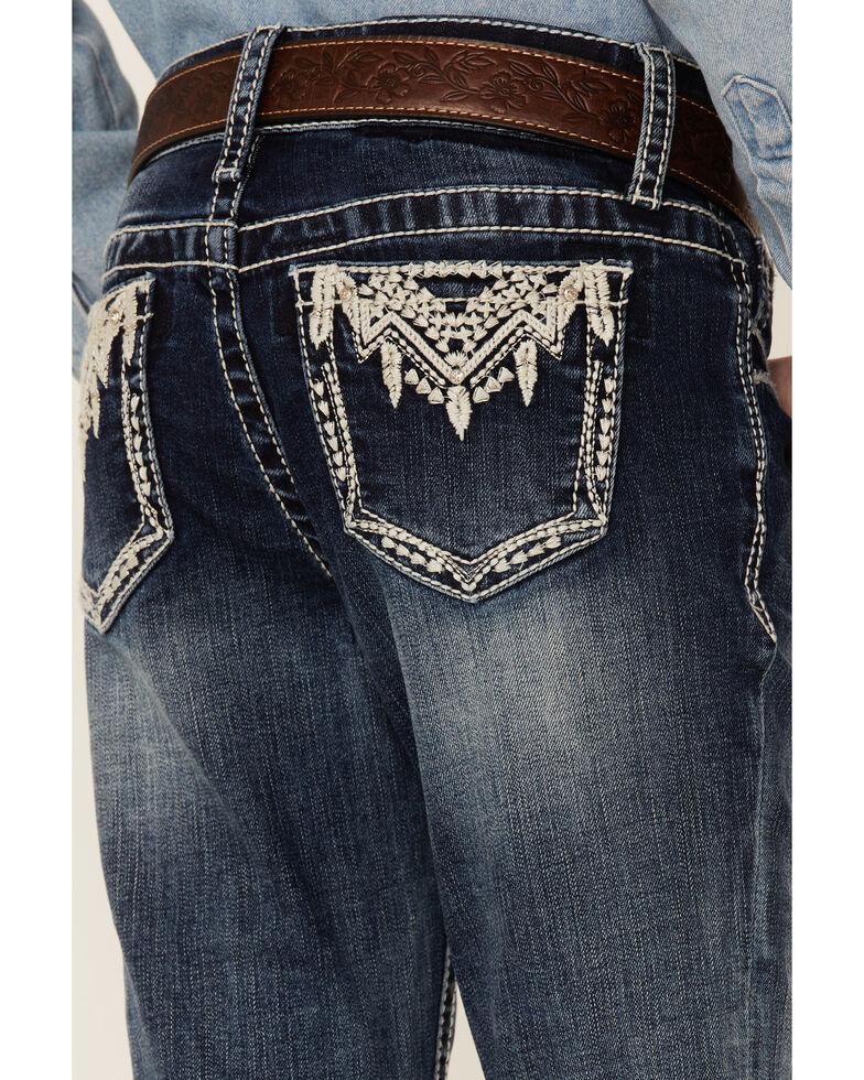 Grace In LA Girls' Medium Wash Aztec Feather Pocket Bootcut Jeans, Blue, hi-res