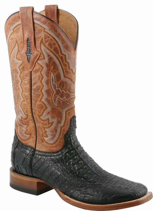 Lucchese Handcrafted 1883 Hornback Caiman Cowboy Boots - Square Toe, Black, hi-res