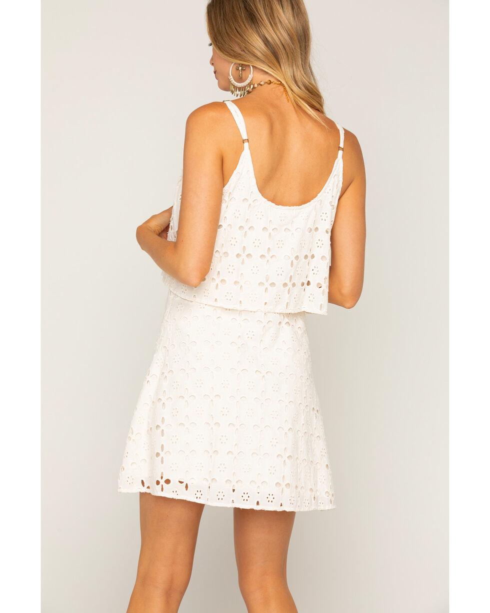 Shyanne Women's Eyelet Lace Spaghetti Strap Dress, White, hi-res