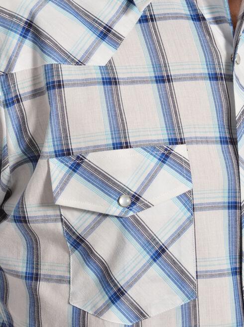 Gibson Trading Co. Blue & White Plaid Lurex Shirt, Blue, hi-res