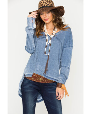 Angie Women's Blue Hilo Waffle Knit Long Sleeve Top, Blue, hi-res