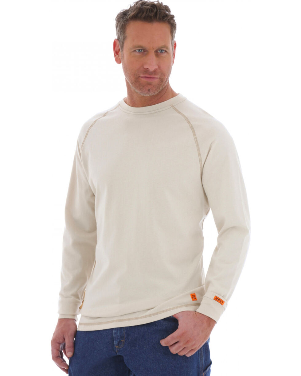Wrangler 20X Flame Resistant Long Sleeve Crew Pullover, Khaki, hi-res