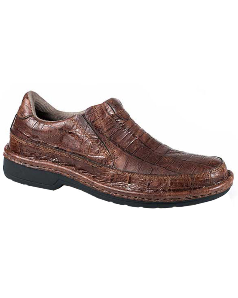 Roper Men's Performance Croc Print Slip-On Shoes, Brown, hi-res
