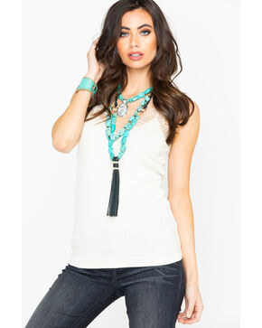 Miss Me Women's Solid Knit Scallop Lace Tank , Ivory, hi-res