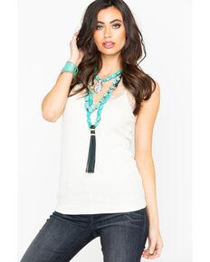 e8dd2a5630b Miss Me Womens Solid Knit Scallop Lace Tank