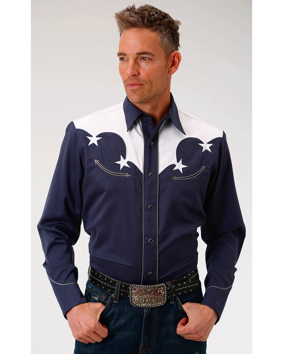 Roper Men's Solid Navy White Yoke & Stars Long Sleeve Snap Shirt, Blue, hi-res