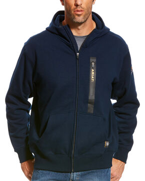 Ariat Men's Navy Rebar Full Zip Hoodie, Navy, hi-res