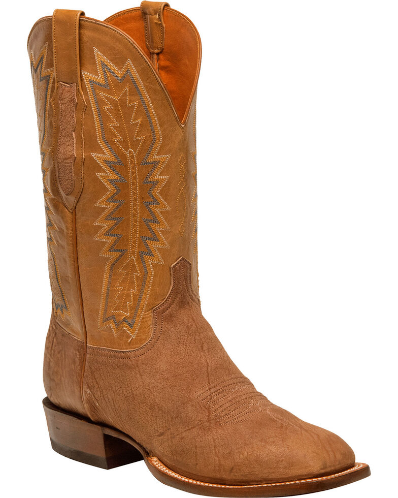 Lucchese Men's Handmade Hunter Tan Sueded Sheep Horseman Western Boots - Square Toe, Tan, hi-res