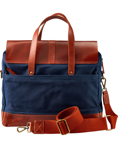 Timberland Nantasket Waxed Canvas and Leather Briefcase , Navy, hi-res