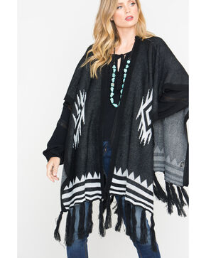 Shyanne Women's Black Paloma Poncho , Black, hi-res