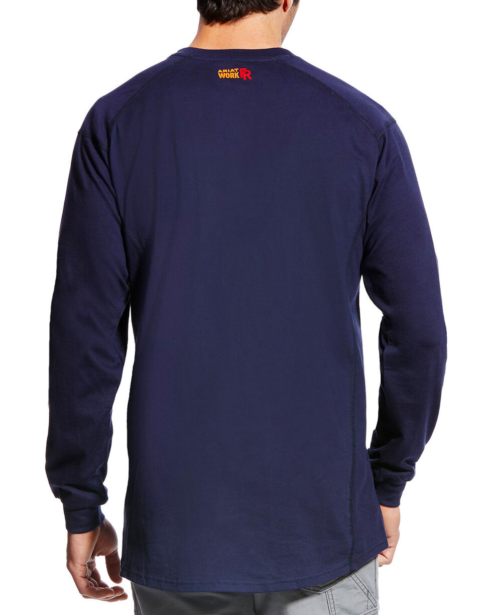 Ariat Men's FR Air Crew Long Sleeve Shirt - Tall, Navy, hi-res