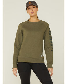 Carhartt Women's Solid Block Logo Midweight Relaxed Pullover Sweatshirt , Olive, hi-res