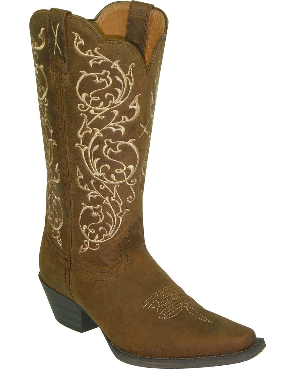 Twisted X Western Scroll Embroidered Cowgirl Boots - Snip Toe, Distressed, hi-res