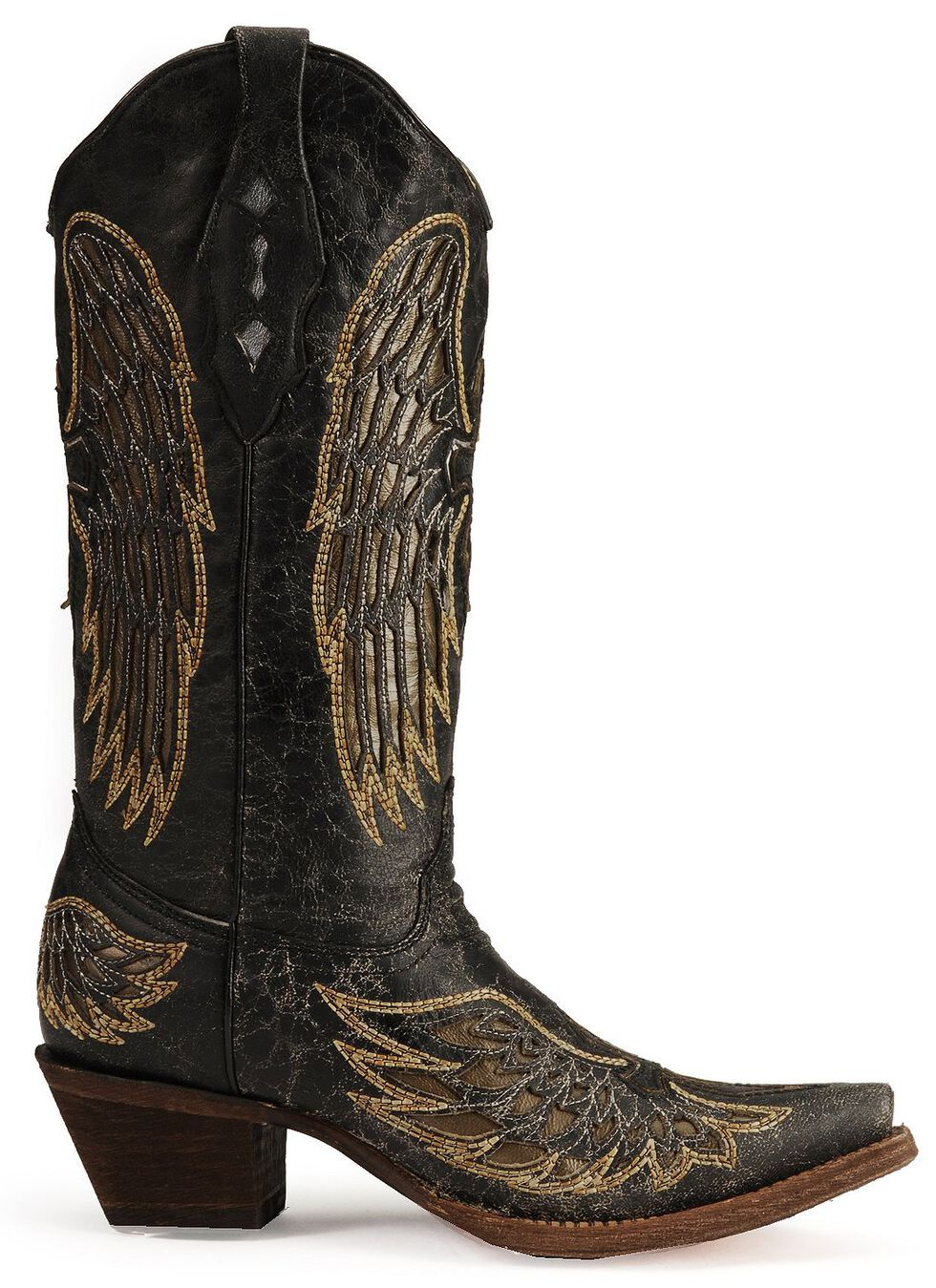 Corral Angel Wing Cross Cowgirl Boots - Snip Toe, Black, hi-res