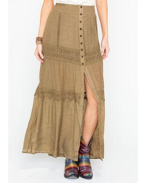 HYFVE Women's Button Down Crochet Maxi Skirt , Olive, hi-res