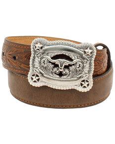 Nocona Boys' Tooled Billet Longhorn Buckle Belt, Brown, hi-res