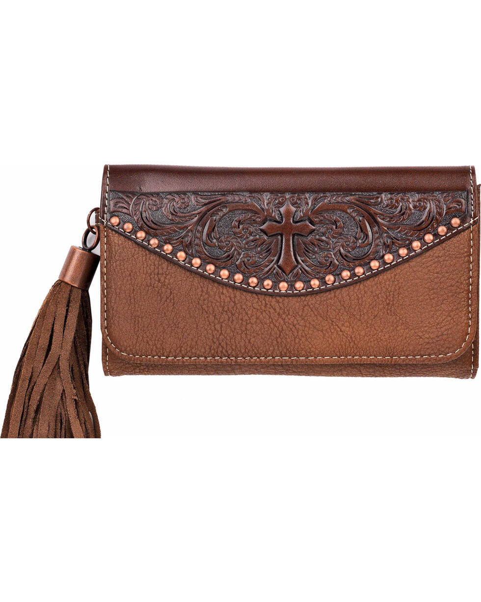 Blazin Roxx Women's Emboss Cross and Tassel Clutch , Brown, hi-res