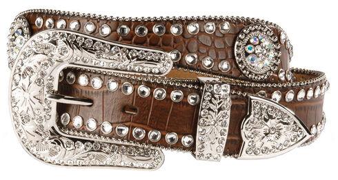 Blazin Roxx Scalloped Croc Print Belt, Brown, hi-res