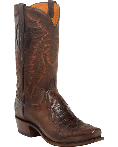 Lucchese Men's Handmade Bryson Chocolate Caiman Inlay Western Boots - Square Toe, Chocolate, hi-res