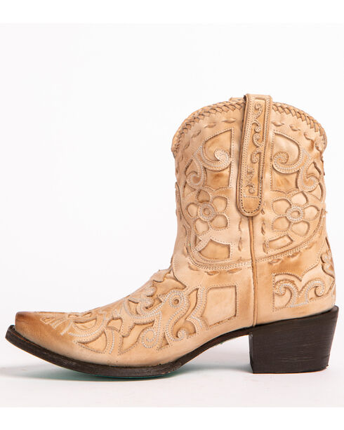 Lane Women's Robin Inlay Cowgirl Booties - Snip Toe, Natural, hi-res