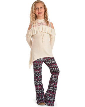 Self Esteem Girls' Cold Shoulder Top, Necklace & Leggings Set , Grey, hi-res