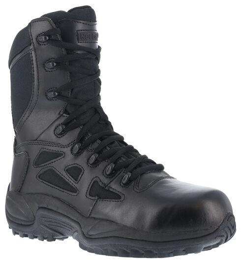 "Reebok Women's 8"" Side-Zip Rapid Response Tactical Boots, Black, hi-res"