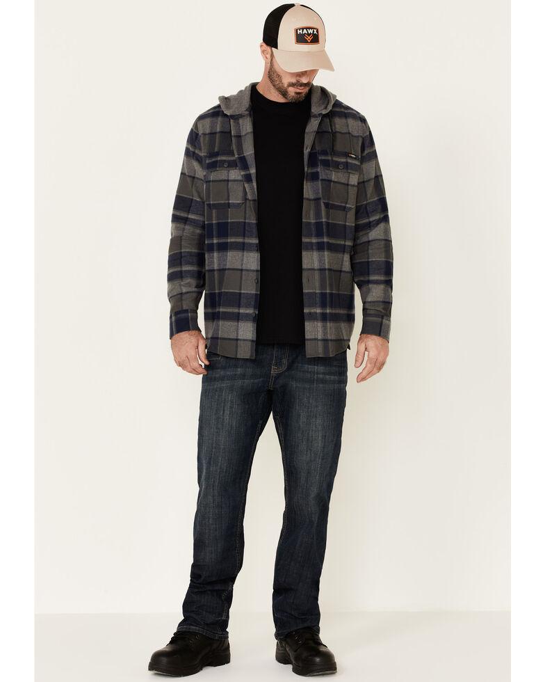 Hawx Men's Dark Grey Townsend Plaid Hooded Long Sleeve Flannel Work Shirt - Tall, Dark Grey, hi-res
