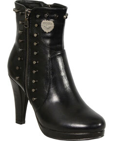 Milwaukee Leather Women's Spiked Side Zipper High Heel Boots - Round Toe, Black, hi-res