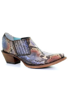 Corral Women's Blue Python Western Exotic Booties - Snip Toe , Blue, hi-res