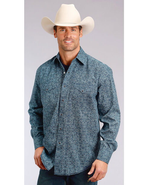 Stetson Men's Blue Print Long Sleeve Snap Shirt - Big & Tall, Blue, hi-res