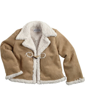 Shyanne Girls' Sherpa Jacket, Brown, hi-res