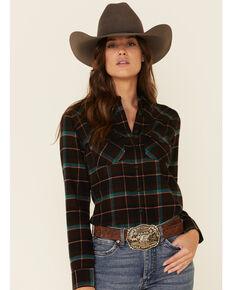 Shyanne Life Women's Black Plaid Long Sleeve Western Flannel Shirt , Black, hi-res