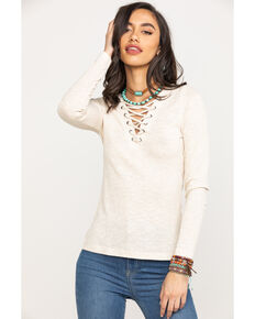 Shyanne Women's Ribbed Lace Up Top, Oatmeal, hi-res