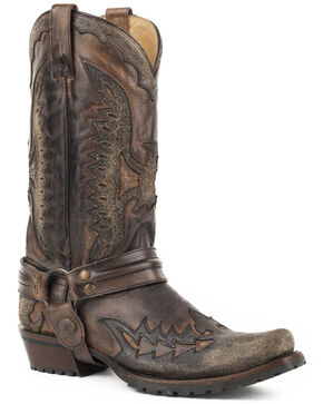 Stetson Men's Outlaw Eagle Western Boots - Square Toe, Black, hi-res