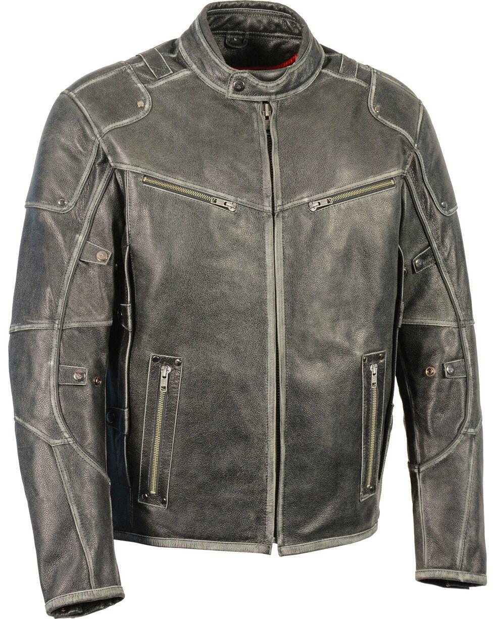 Milwaukee Leather Men's Vintage Distressed Triple Vented Jacket - 5X, Grey, hi-res