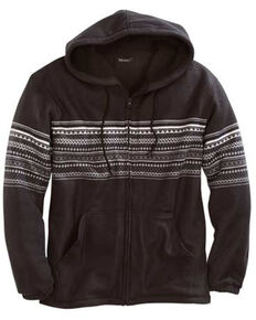 Tin Haul Men's Aztec Border Print Polar Fleece Hooded Jacket , Black, hi-res