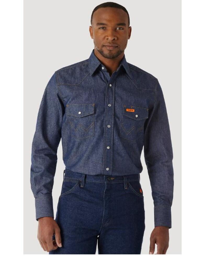 Wrangler Men's Flame Resistant Work Western Shirt, Denim, hi-res
