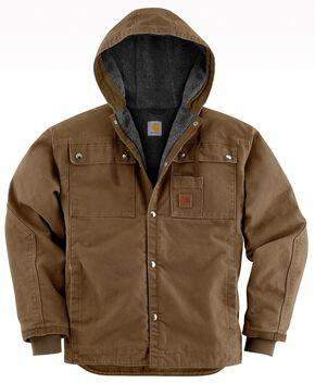 Carhartt Sandstone Hooded Sherpa-Lined Multi Pocket Jacket, Brown, hi-res