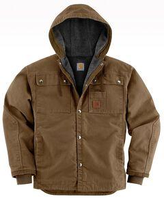 Carhartt Sandstone Hooded Sherpa-Lined Multi Pocket Jacket - Big & Tall, Brown, hi-res
