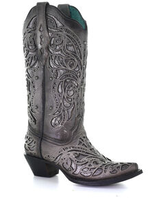 Corral Women's Silver Inlay Studded Western Boots - Snip Toe, Grey, hi-res