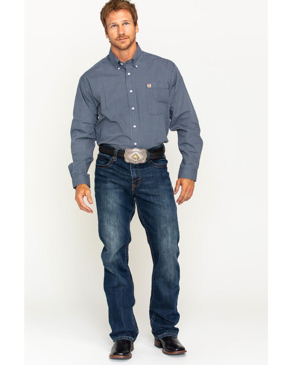 Cinch Men's Navy Printed Weave Western Shirt , Navy, hi-res