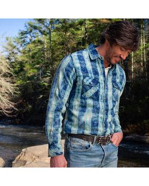 Ryan Michael Men's Indigo Box Plaid Western Shirt, Indigo, hi-res